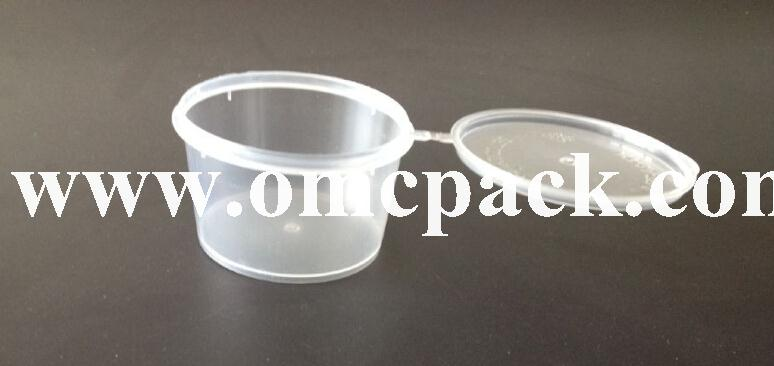 3oz disposable plastic sauce container with hinged lid