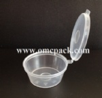 MT300  1.5 oz plastic sauce container with hinged lid