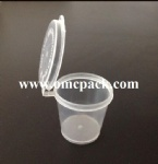 0.75oz disposable plastic sauce container with hinged lid
